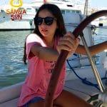 Samoa Sun kids navegar Gafas de sol madera Fiyi Beach Black