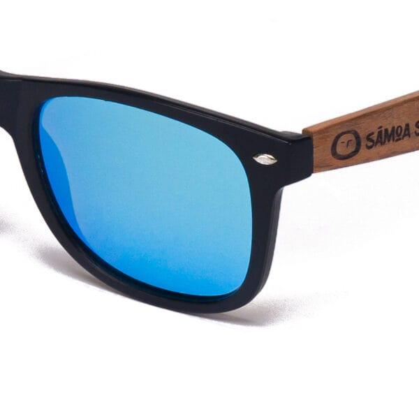 Maui Beach Blue Mirror Samoa Sun Gafas de madera